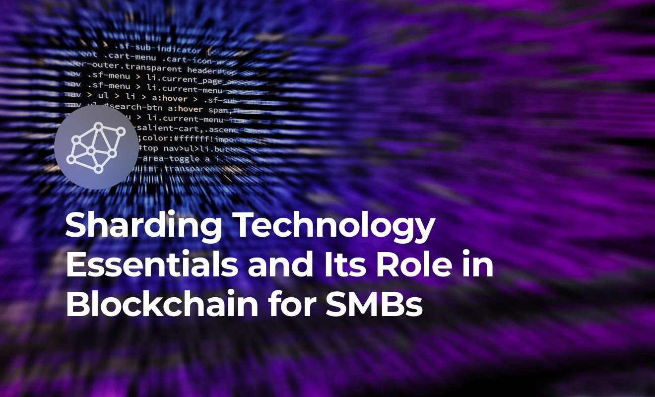 Sharding in blockchain article. Cover with text